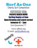 Surf As One Charity Surf Contest at Pacific Drive Saturday Oct 10th