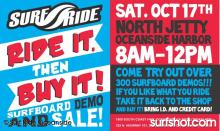 Surf Ride Surfboard Demo and Sale at North Jetty Oceanside on Saturday Oct 17th