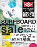 Sun Diego Mission Beach having HUGE SURFBOARD SALE on Saturday March 6th