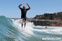 Steve Walden Surfing at Legends Surfing at UCSD Luau and Longboard Invitational at Scripps Pier by John Cocozza