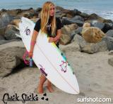 Chick Sticks Vixen is a progressive 5-fin option Fish that\\\'s fun and super easy to ride. Works well in white wash while you learn and shines in open face waves when you're ready. A slimmed down tail makes this fish shape easier for a Girl to duck dive. This well thought out shape works Awesome for Beginner to Advanced Surfers. Std Size 5.10 x 20 x 2.50.   http://www.chicksticksbylola.com/products/all-these-boards-are-in-stock-ready-to-ship-look