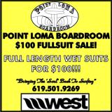 Wetsuit Sale at Point Loma Boardroom