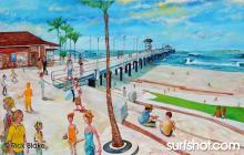 "Huntington Beach Pier, Northside - 62""x41"" oil on canvas"