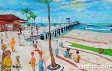 """Huntington Beach Pier, Northside - 62""""x41"""" oil on canvas"""